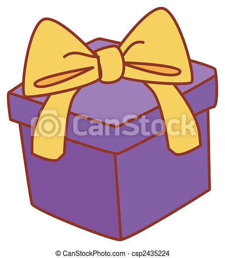 Caja Regalo Púrpura Amarillo Ilustración Dibujo