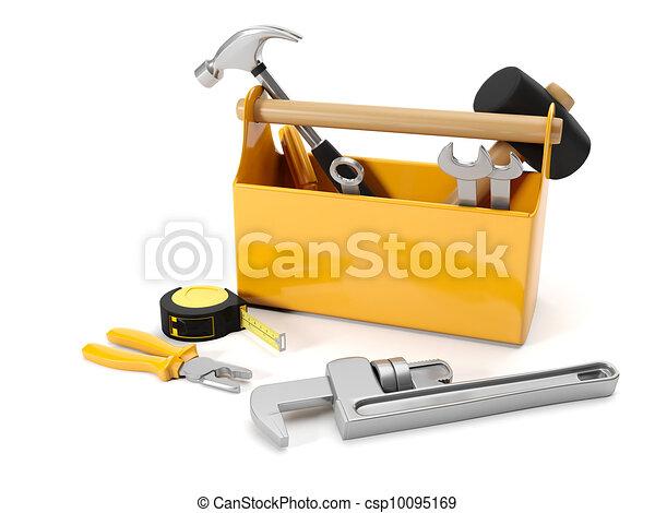 Tercera ilustración: servicios de reparación. Caja de herramientas en un fondo blanco - csp10095169