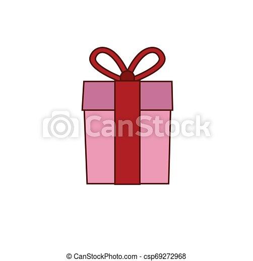 Una caja de regalos con cinta. - csp69272968