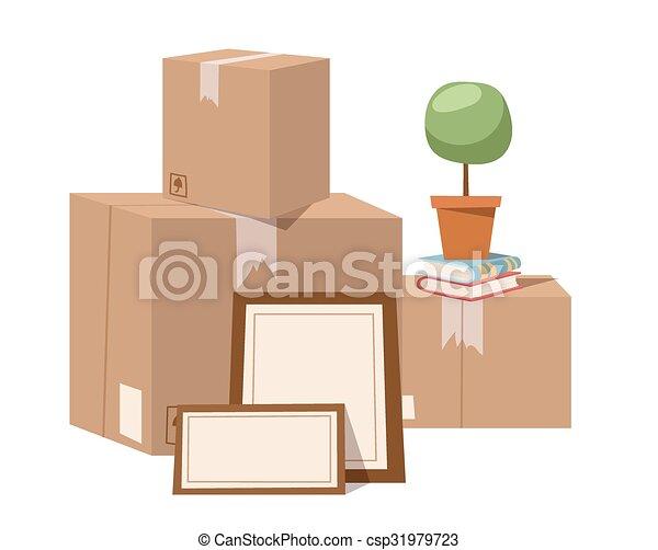 Muevan la caja de servicio con ilustración vectorial completa - csp31979723