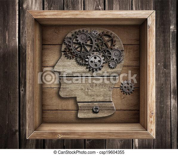 Trabajo cerebral, creatividad. Pensando fuera del concepto de caja. - csp19604355