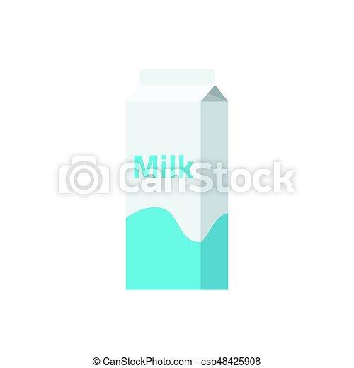 Ilustración de vectores de caja de leche, icono de paquete de papel lácteos - csp48425908
