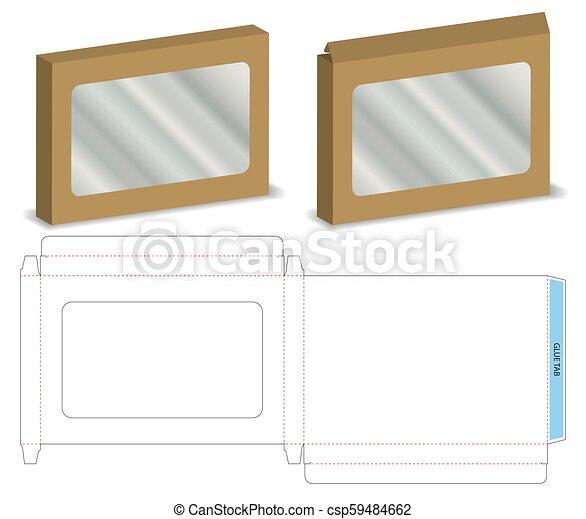 Caja con una maqueta de ventana de plástico con línea dietética - csp59484662