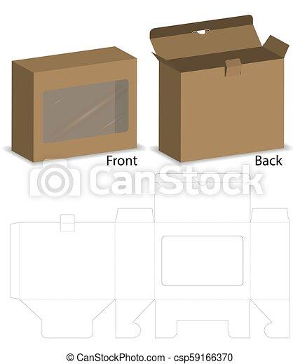 Caja con una maqueta de ventana de plástico con línea dietética - csp59166370