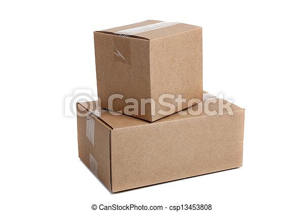 cajas, blanco, embalaje, plano de fondo, pila - csp13453808