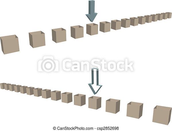 Fila de flechas de cajas de envío como fronteras - csp2852698