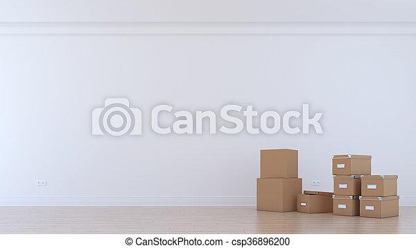 Habitación vacía con cajas de tarjetas - csp36896200