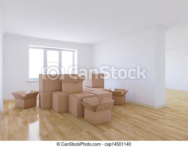 Mover cajas en el cuarto vacío - csp14501140