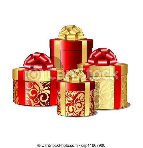 Cajas de regalo rojas y doradas - csp11867900
