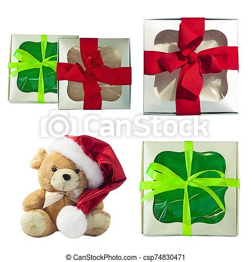 cajas, patrón, rata, presentes., tela, invierno, seamless, lindo, suave, plano de fondo, regalo, navidad, diseño, plano, rojo, toy. - csp74830471