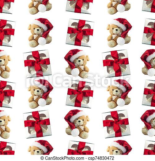 cajas, patrón, rata, presentes., tela, invierno, seamless, lindo, suave, plano de fondo, regalo, navidad, diseño, plano, rojo, toy. - csp74830472