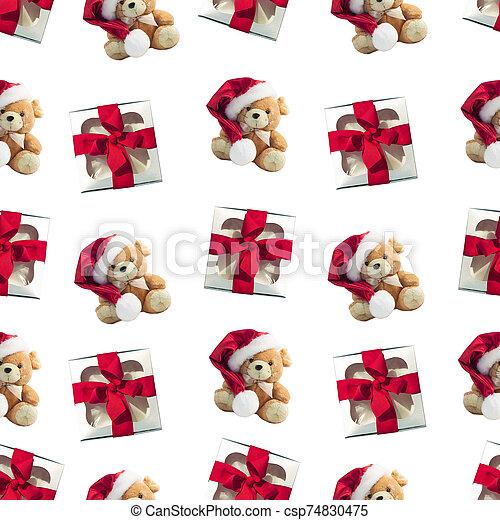 cajas, patrón, rata, presentes., tela, invierno, seamless, lindo, suave, plano de fondo, regalo, navidad, diseño, plano, rojo, toy. - csp74830475