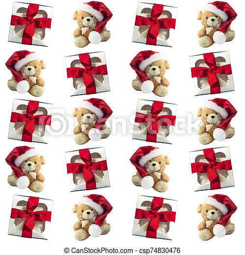 cajas, patrón, rata, presentes., tela, invierno, suave, lindo, plano de fondo, regular, regalo, navidad, diseño, plano, rojo, toy. - csp74830476