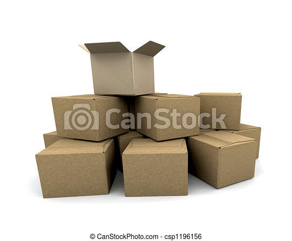 Un montón de cajas - csp1196156