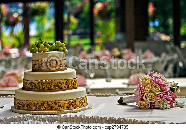 Cake and a bouquet - csp2704735