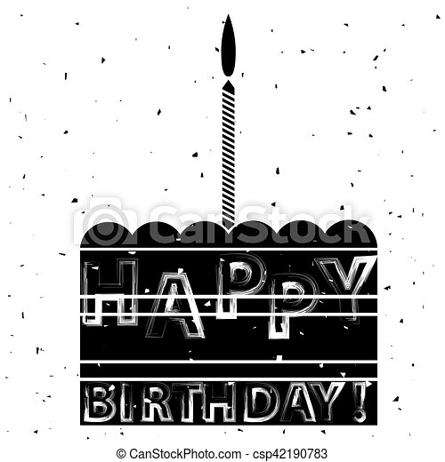 Cake and Candle Silhouette Birthday Banner - csp42190783