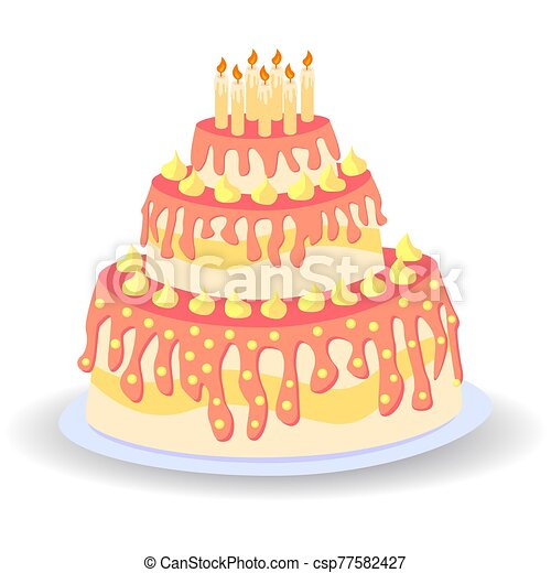 Cake birthday with candles and cream isolated on white background - csp77582427