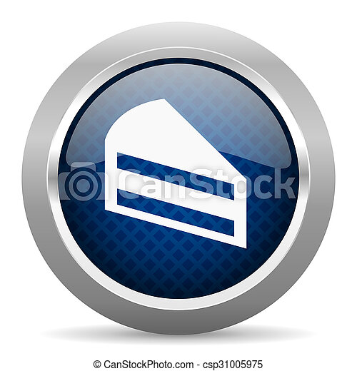 cake blue circle glossy web icon on white background, round button for internet and mobile app - csp31005975