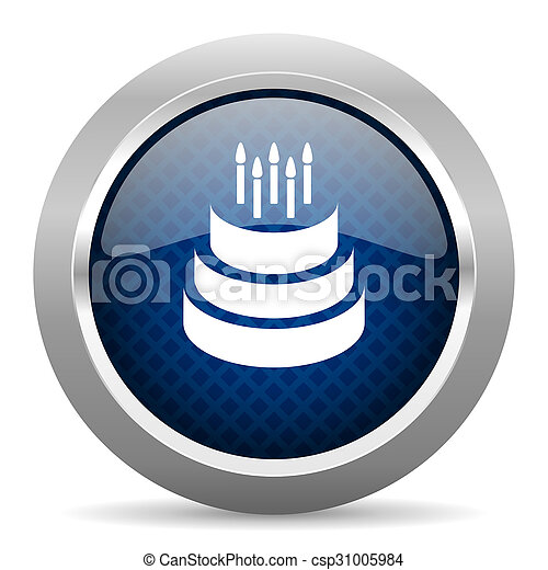 cake blue circle glossy web icon on white background, round button for internet and mobile app - csp31005984