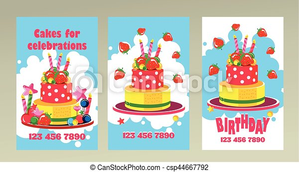 Cake business card vector business cards on holidays birthdays cake business card csp44667792 reheart Images