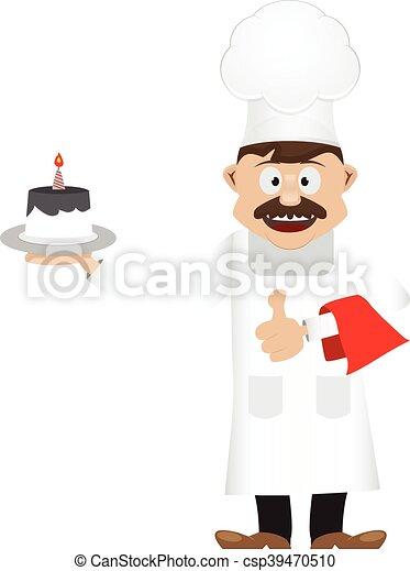 cake chef cartoon - csp39470510
