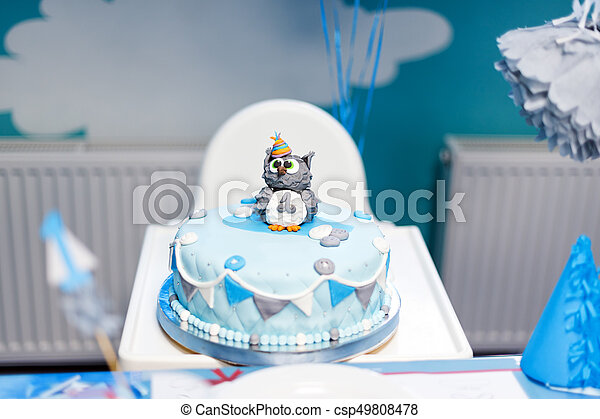 Strange Cake For First Birthday Number One And Owl Figure Made Of Sugar Funny Birthday Cards Online Hendilapandamsfinfo