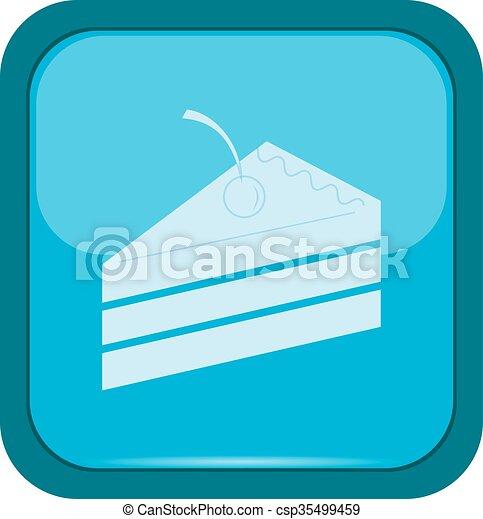Cake icon on a blue button - csp35499459