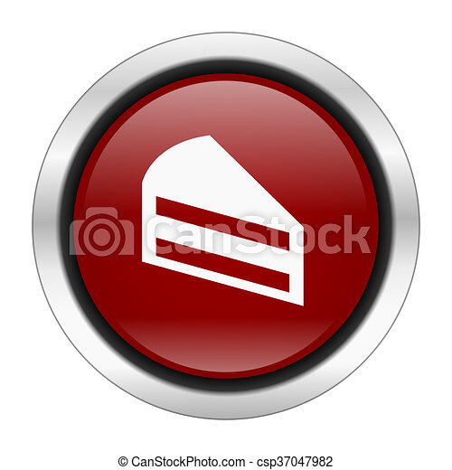cake icon, red round button isolated on white background, web design illustration - csp37047982