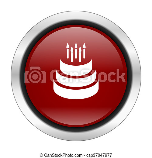 cake icon, red round button isolated on white background, web design illustration - csp37047977