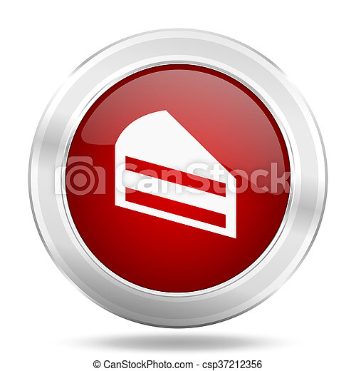 cake icon, red round glossy metallic button, web and mobile app design illustration - csp37212356