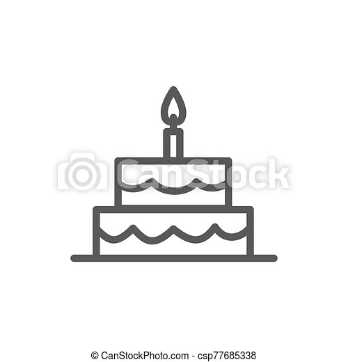 Cake line icon on white background - csp77685338