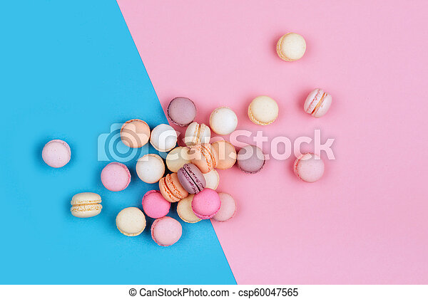 Cake Macaron Or Macaroon On Pink And Blue Background Flavor Almond Cookies Pastel Colors Vintage Card