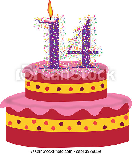 Clipart Vector of cake of Fourteenth birthday cake with candles