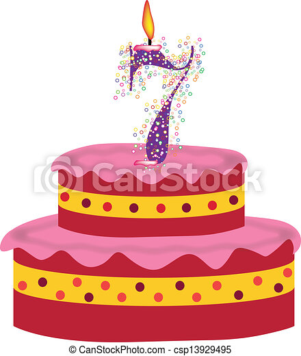 Excellent Cake Of Seventh Birthday Cake With Candles Of Seventh Birthday Personalised Birthday Cards Epsylily Jamesorg