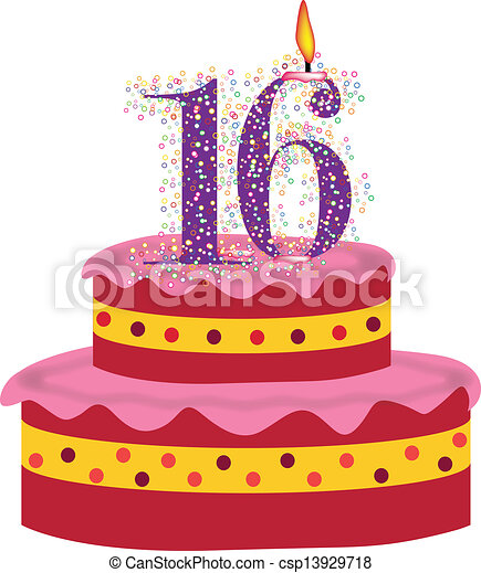 cake of sixteenth birthday cake with candle of sixteenth birthday