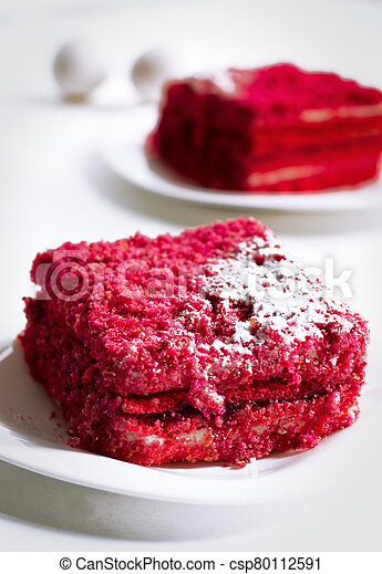 cake on a plate sweet food red - csp80112591