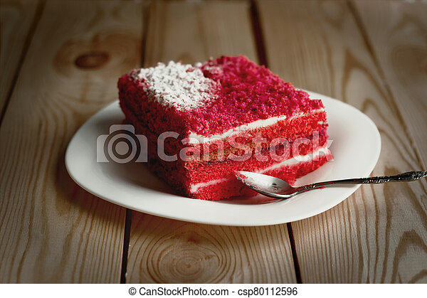 cake on a plate sweet food red - csp80112596