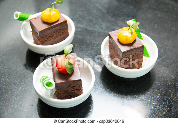 cake on the table for the buffet in cup - csp33842646