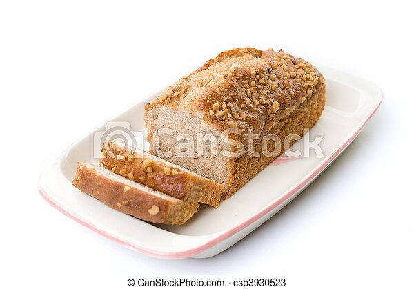 cake on tray isolated white - csp3930523