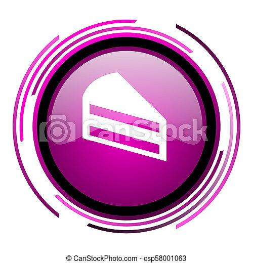 Cake pink glossy web icon isolated on white background - csp58001063