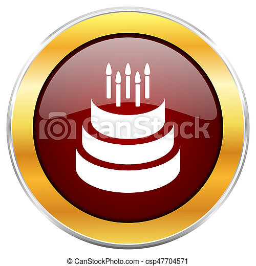 Cake red web icon with golden border isolated on white background. Round glossy button. - csp47704571