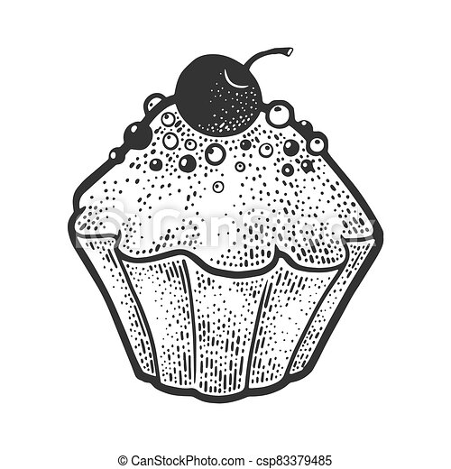 cake sketch engraving vector illustration. T-shirt apparel print design. Scratch board imitation. Black and white hand drawn image. - csp83379485