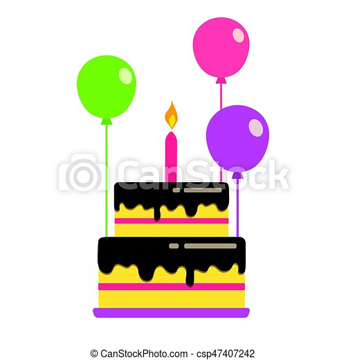 Cake With Balloons Illustration Of Birthday Colorful