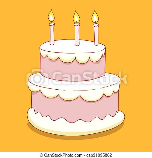 Cake with candles vector illustration - csp31035862