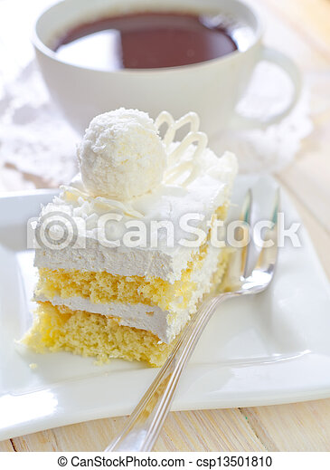 Cake with coffee - csp13501810