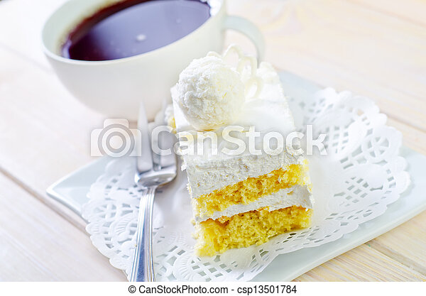 Cake with coffee - csp13501784