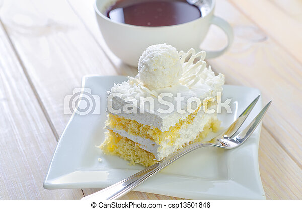 Cake with coffee - csp13501846