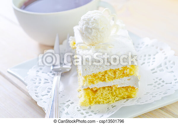 Cake with coffee - csp13501796