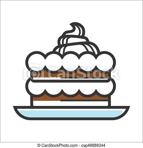 Cake with cream - csp48889344