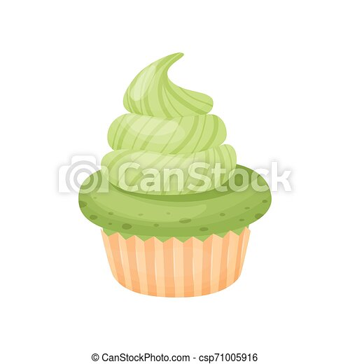 Cake with cream. Vector illustration on white background. - csp71005916